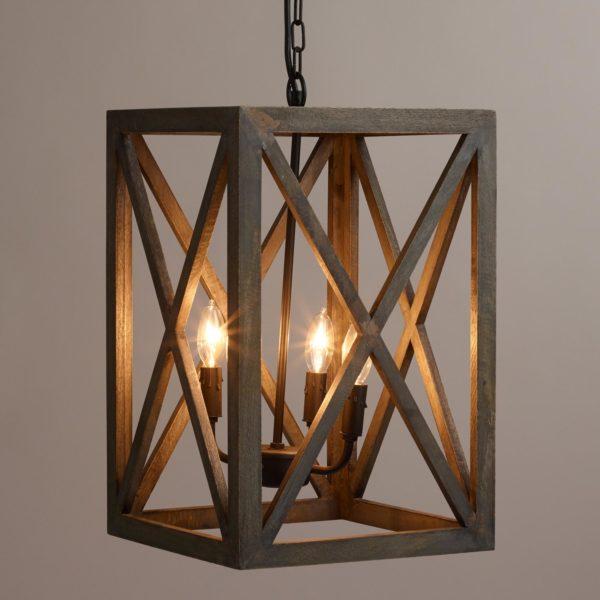 đèn chùm lồng vuông ca rô