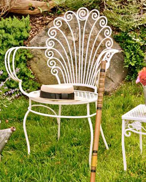 ghế sắt hoa văn đẹp dành cho sân vườn DP gh 08