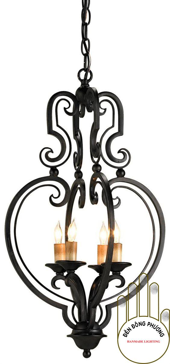 đèn chùm sắt rèn châu cao cấp