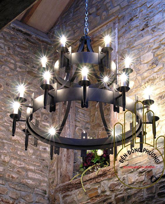 đèn chùm nến 18 ngọn thả thông tầng kiểu tây ban nha