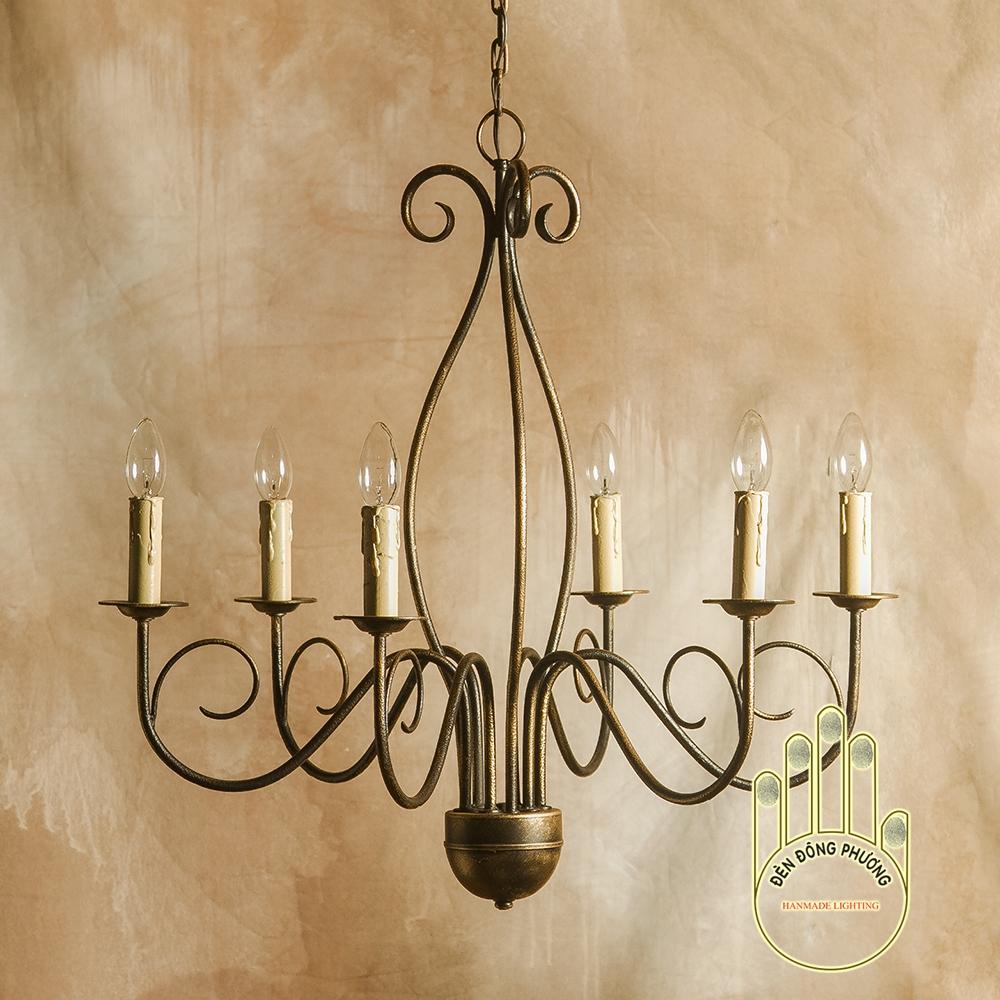đèn chùm sắt nghệ thuật 6 ngọn nến