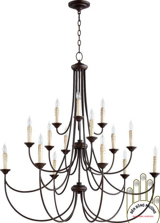 đèn chùm sắt uốn đẹp tinh xảo 3 tầng