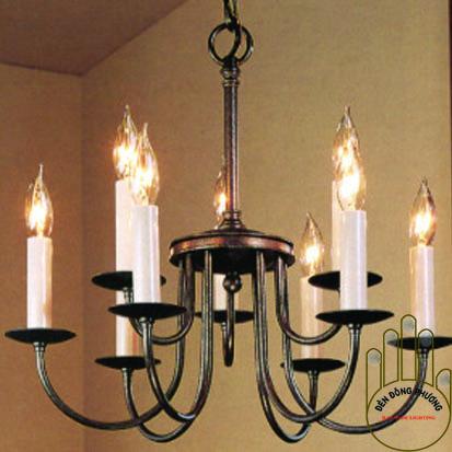 đèn chùm sắt uốn đơn giản 2 tầng đẹp