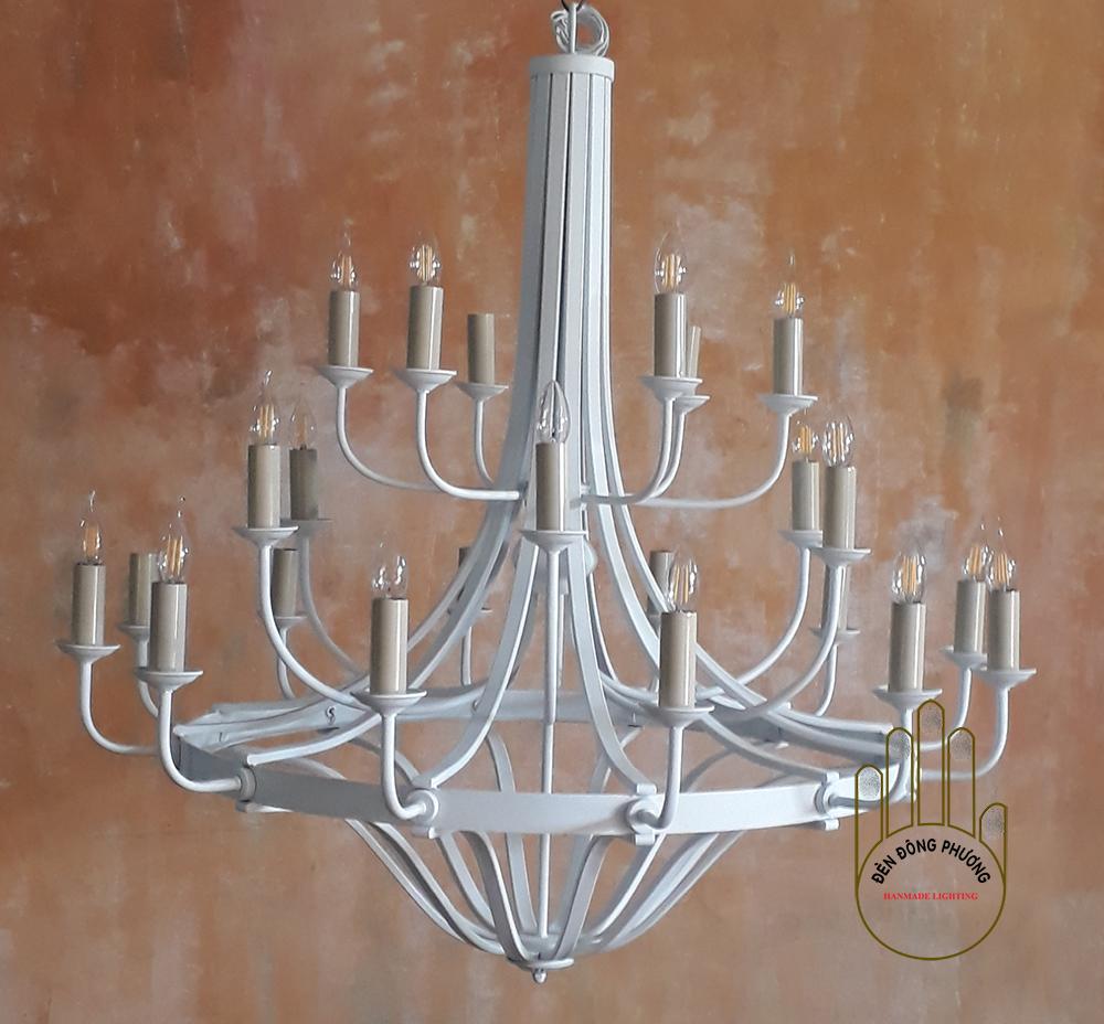 đèn chùm mỹ thuật hình tháp 3 tầng châu âu