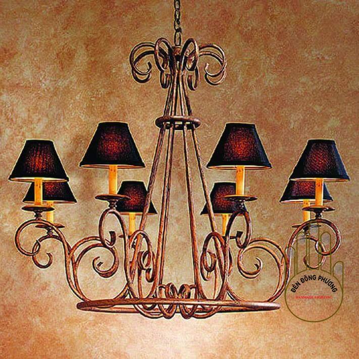 đèn chùm phòng khách cổ điển chụp vải